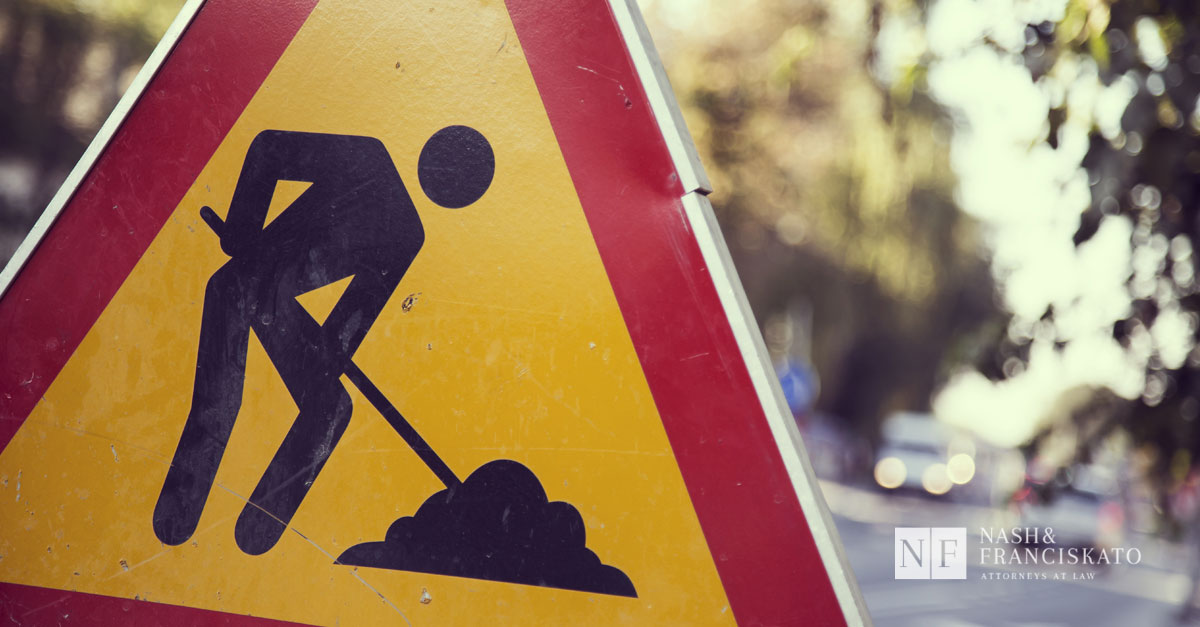 Construction work zone accident